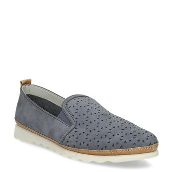 Dámská kožená Slip-on obuv s perforací comfit, modrá, 516-9614 - 13