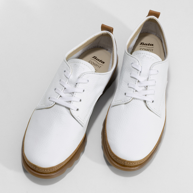 Bílé kožené tenisky s hnědými detaily comfit, bílá, 516-8616 - 16