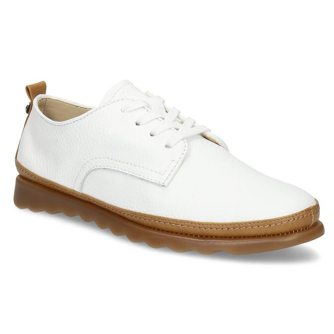 Bílé kožené tenisky s hnědými detaily comfit, bílá, 516-8616 - 13