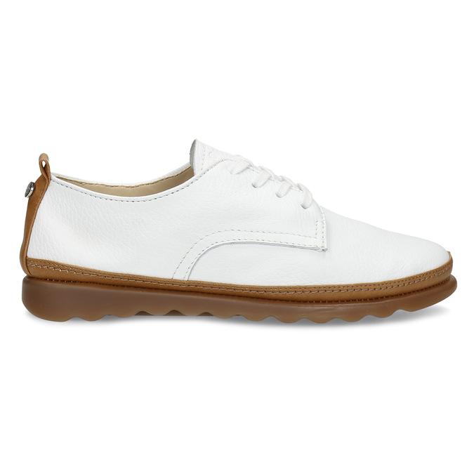 Bílé kožené tenisky s hnědými detaily comfit, bílá, 516-8616 - 19