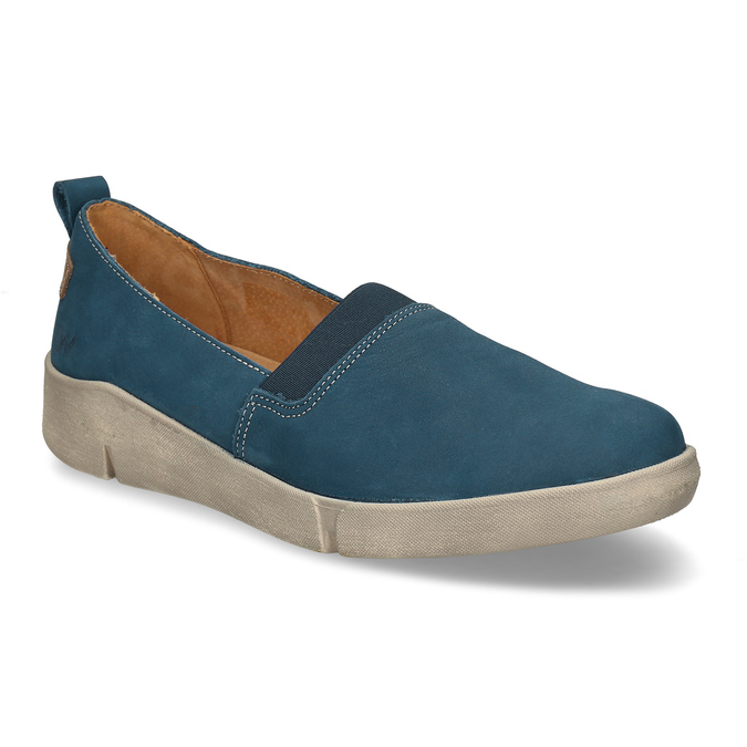 Modré kožené baleríny weinbrenner, modrá, 516-9623 - 13