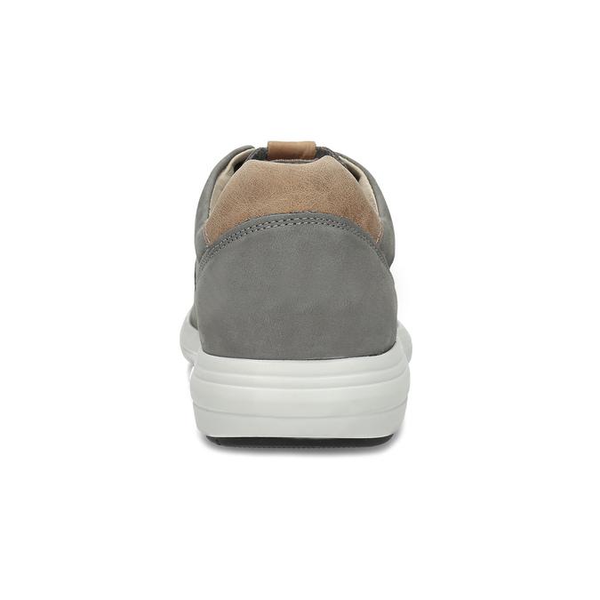 Pánské šedé kožené tenisky s perforací bata-light, šedá, 846-2722 - 15