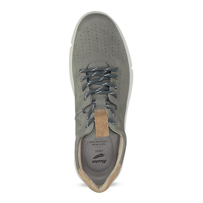 Pánské šedé kožené tenisky s perforací bata-light, šedá, 846-2722 - 17