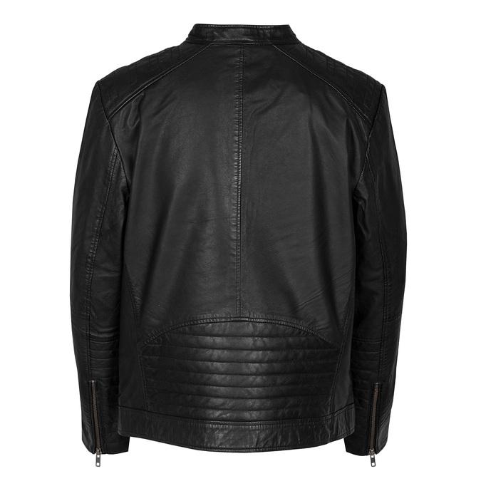 Černá pánská kožená bunda s prošitím bata, černá, 974-6158 - 26