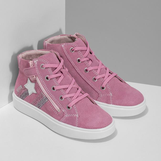Kotníčkové růžové tenisky z broušené kůže richter, růžová, 323-5104 - 26