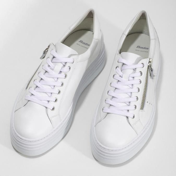 Bílé tenisky na flatformě se zipem bata, bílá, 544-1602 - 16