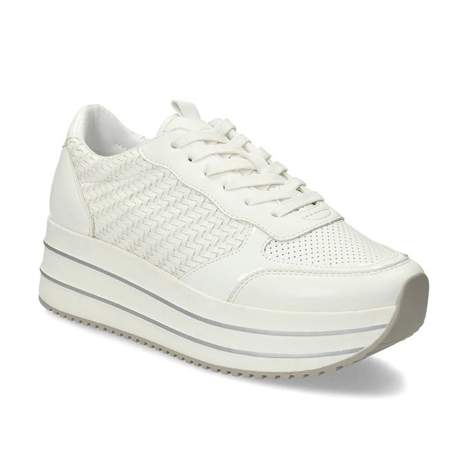 Bílé dámské tenisky na vysoké flatformě bata-light, bílá, 621-1656 - 13