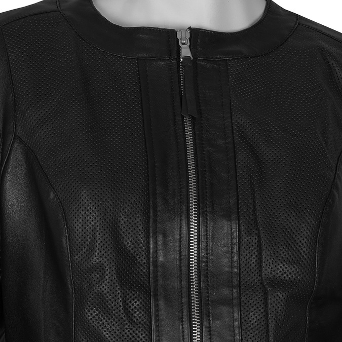 Dámská černá kožená bunda s perforací bata, černá, 974-6122 - 16