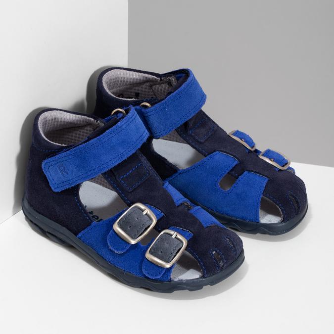 Kožené chlapecké sandály s přezkami richter, modrá, 163-9103 - 26