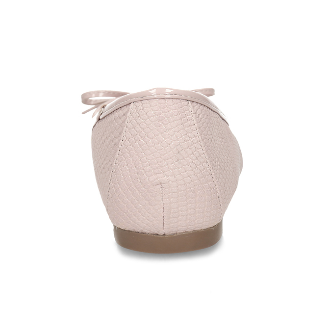 Růžové dámské baleríny s mašlí bata, růžová, 521-8651 - 15