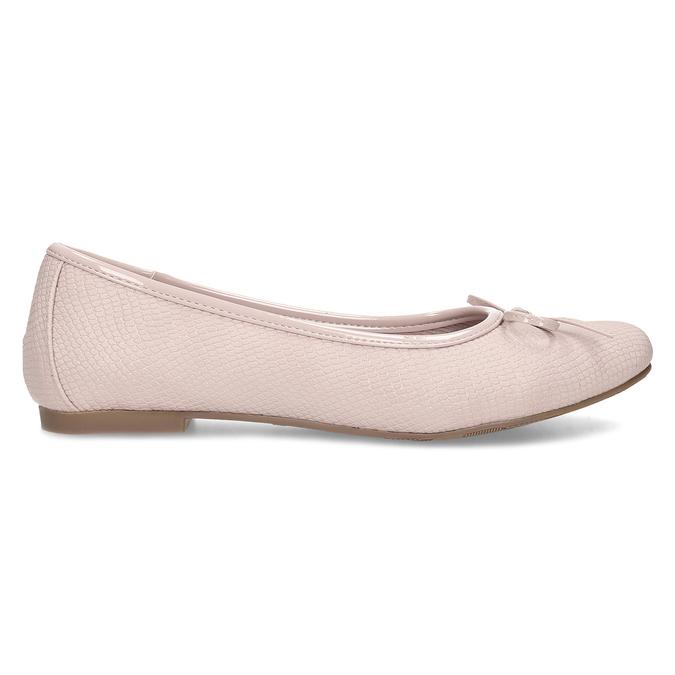 Růžové dámské baleríny s mašlí bata, růžová, 521-8651 - 19