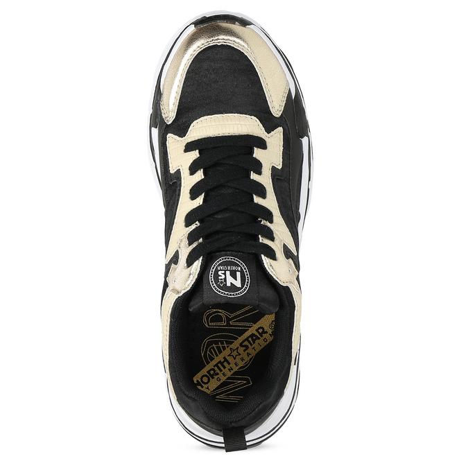Černé dámské tenisky se zlatými detaily north-star, černá, 641-6609 - 17