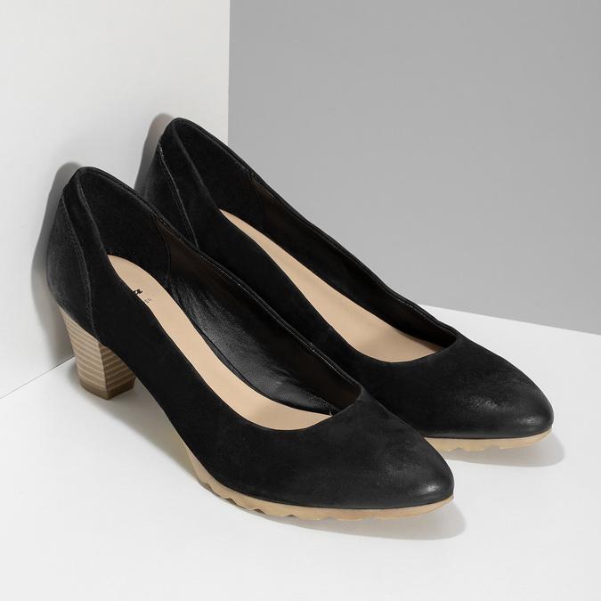 Lodičky z černé broušené kůže bata, černá, 626-6652 - 26