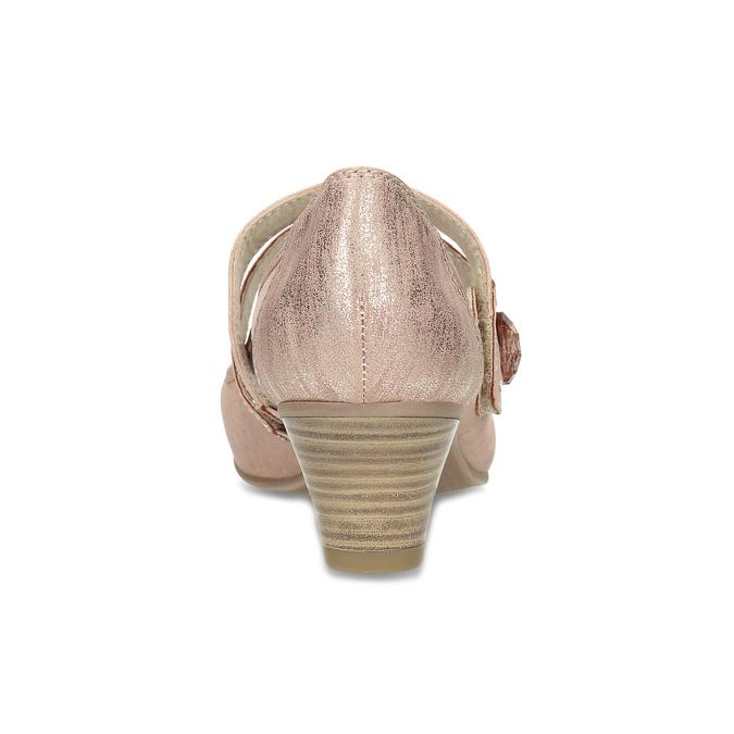 Růžové dámské lodičky z broušené kůže bata, růžová, 623-5646 - 15