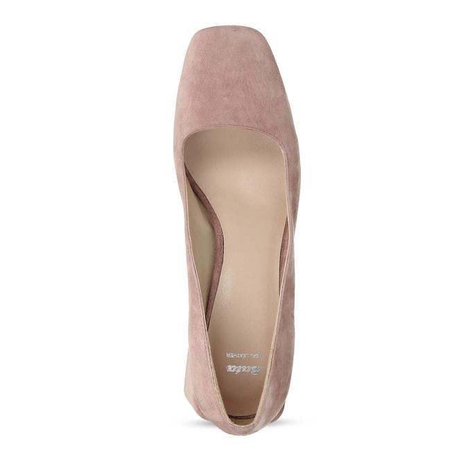 Růžové dámské lodičky z broušené kůže bata, růžová, 623-5648 - 17