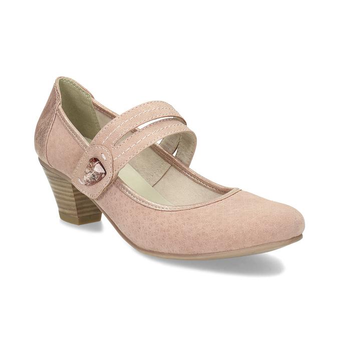 Růžové dámské lodičky z broušené kůže bata, růžová, 623-5646 - 13