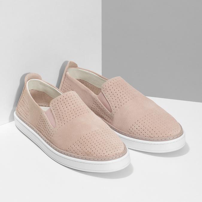 Růžové kožené slip-on tenisky bata, růžová, 533-5601 - 26