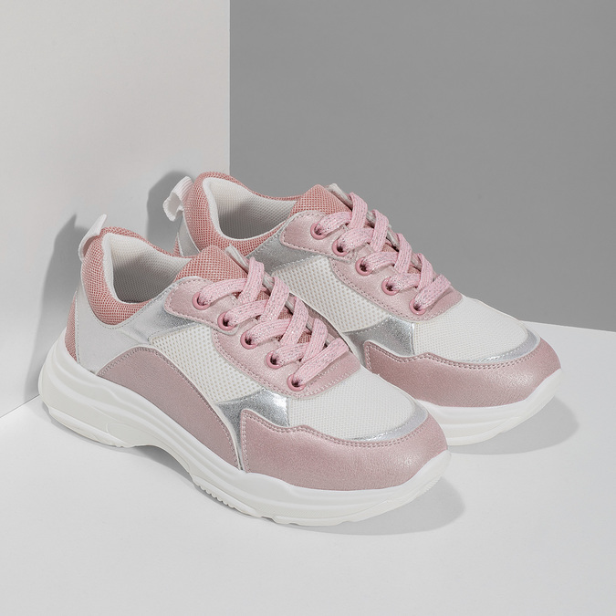 Dívčí dětské tenisky stříbrno-růžové mini-b, růžová, 321-5684 - 26