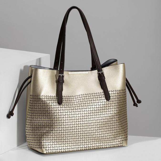 Zlatá dámská kabelka s perforací bata, zlatá, 961-8866 - 17