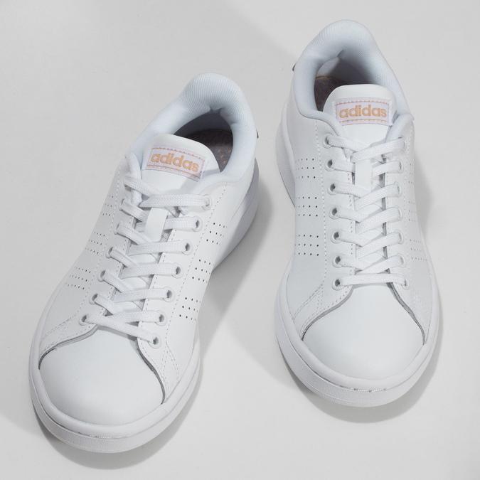 Dámské bílé tenisky s perforací adidas, bílá, 501-1854 - 16