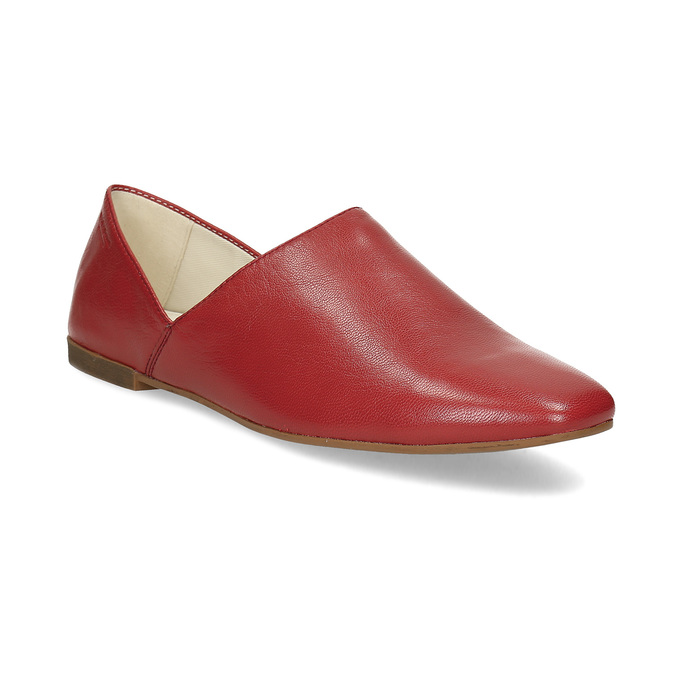 Dámské červené kožené Loafers vagabond, červená, 524-5079 - 13