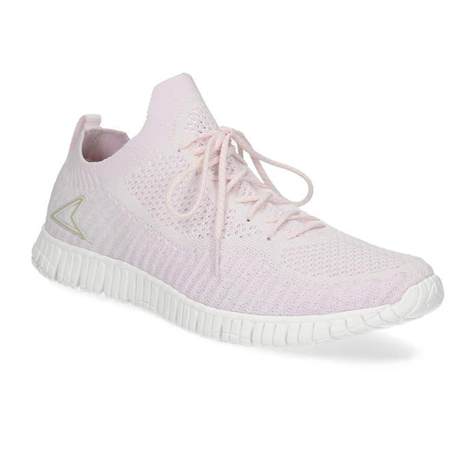 Růžové dámské tenisky v pleteném stylu power, růžová, 509-0211 - 13