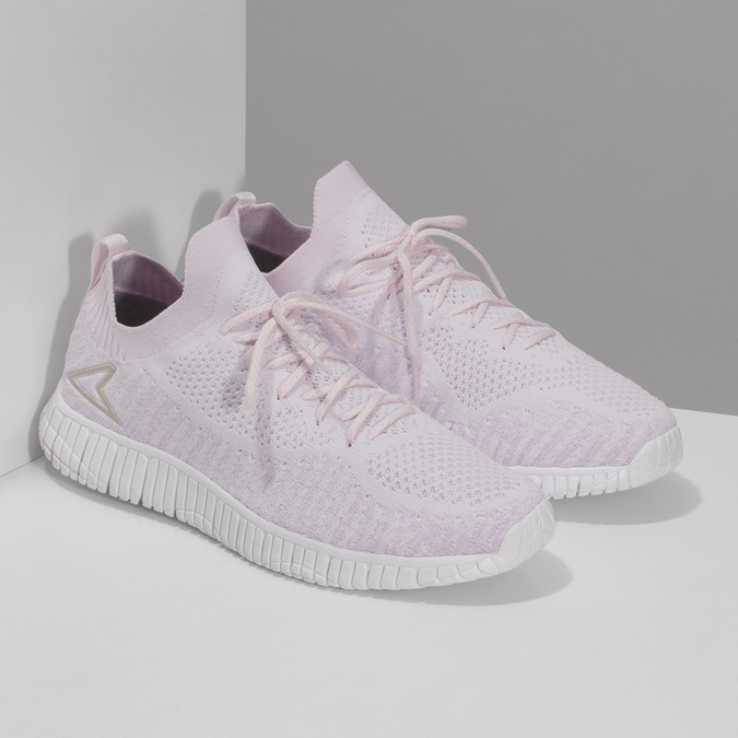 Růžové dámské tenisky v pleteném stylu power, růžová, 509-0211 - 26