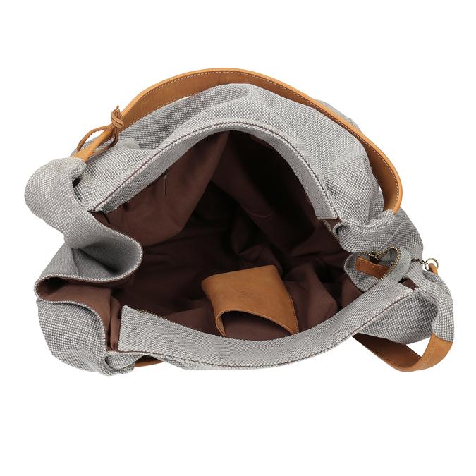 Šedá kabelka s hnědými detaily bata, šedá, 969-2868 - 15