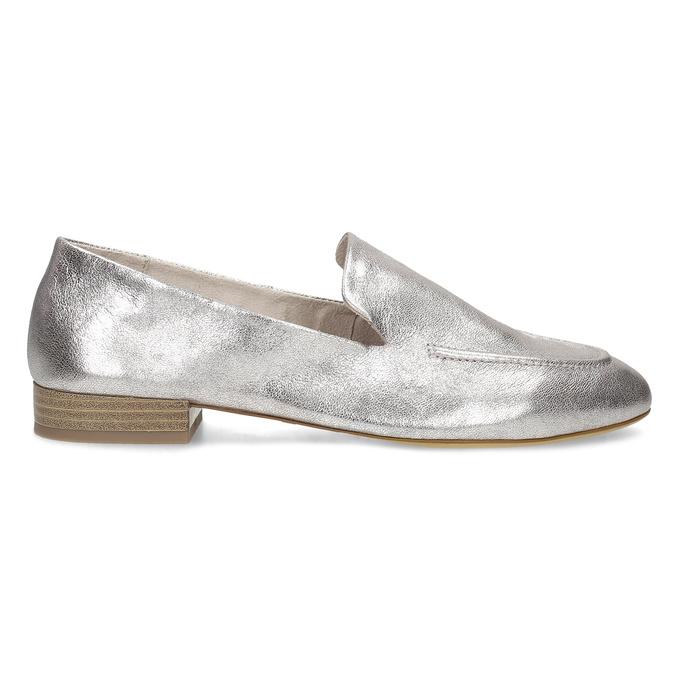 Dámské stříbrné kožené mokasíny bata, stříbrná, 518-5605 - 19