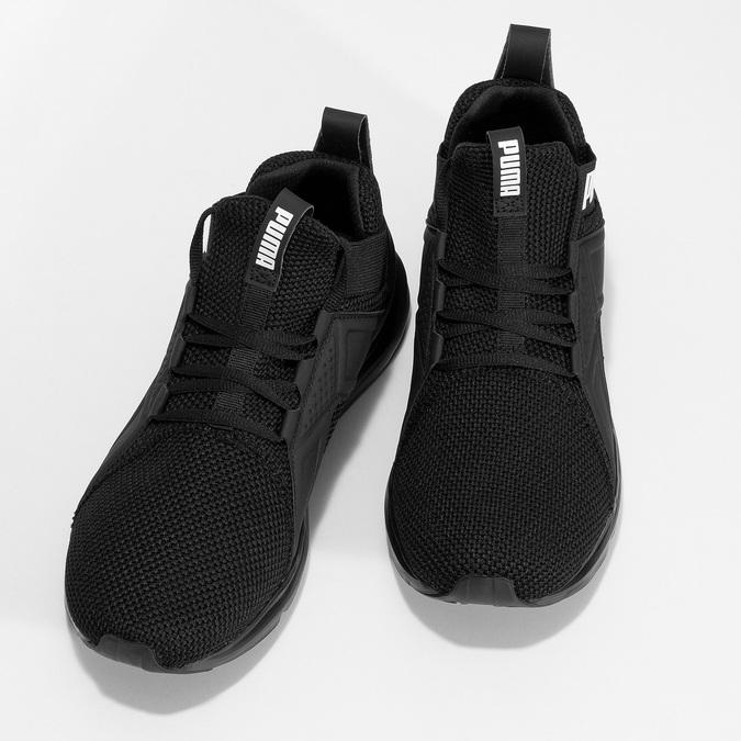Kotníčkové černé tenisky s bílým logem puma, černá, 809-6207 - 16