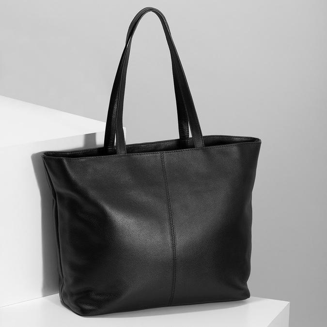 Černá kožená shopper bag bata, černá, 964-6701 - 17