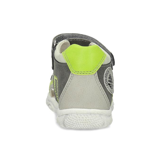 Šedé dětské sandály se zelenými detaily bubblegummers, šedá, 161-3614 - 15