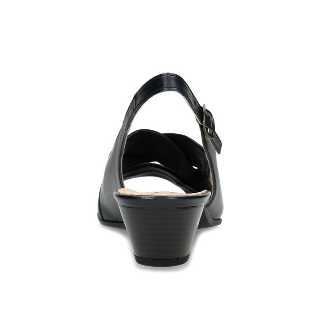 Černé kožené lodičky s otevřenou patou gabor, černá, 664-6608 - 15
