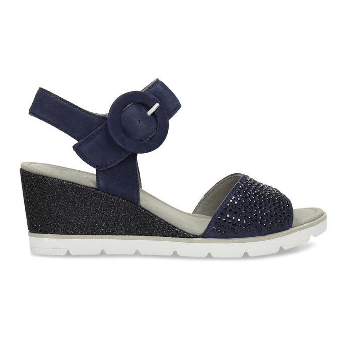 Modré dámské kožené sandály na platformě gabor, modrá, 663-9606 - 19