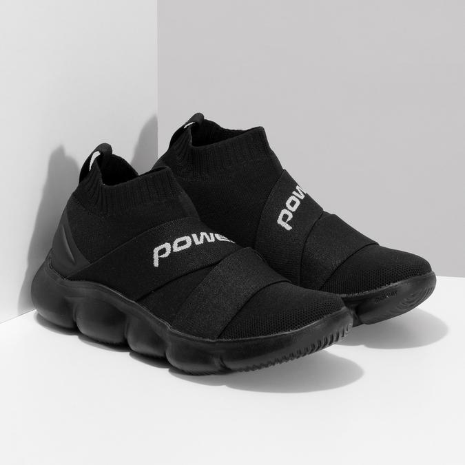 Dámské černé kotníčkové tenisky z úpletu power, černá, 509-6237 - 26