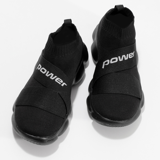 Dámské černé kotníčkové tenisky z úpletu power, černá, 509-6237 - 16