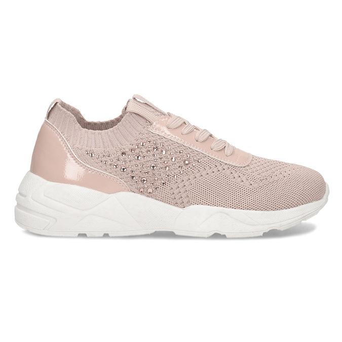 Dámské tenisky růžové s kamínky bata-light, růžová, 549-5615 - 19