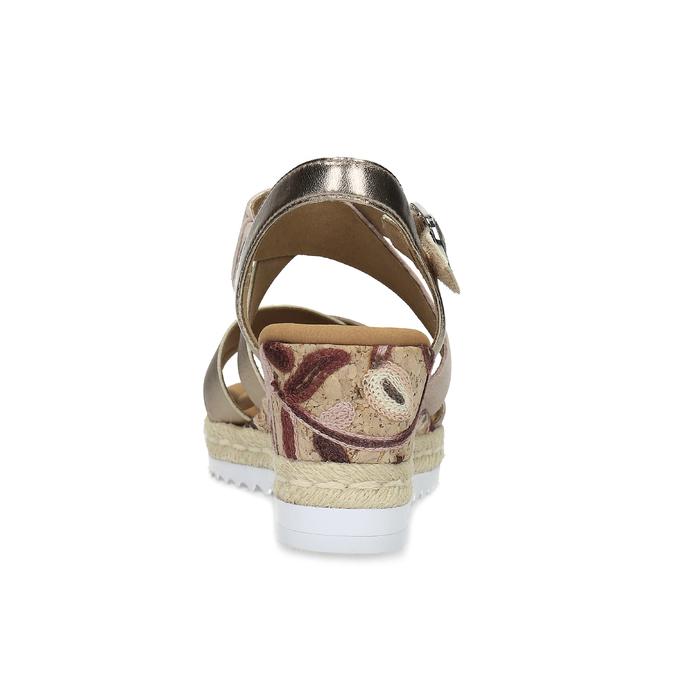 Zlaté kožené sandály na vzorované platformě gabor, zlatá, 765-8600 - 15