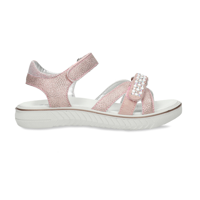 Růžové dětské sandály s kamínky mini-b, růžová, 461-5642 - 19
