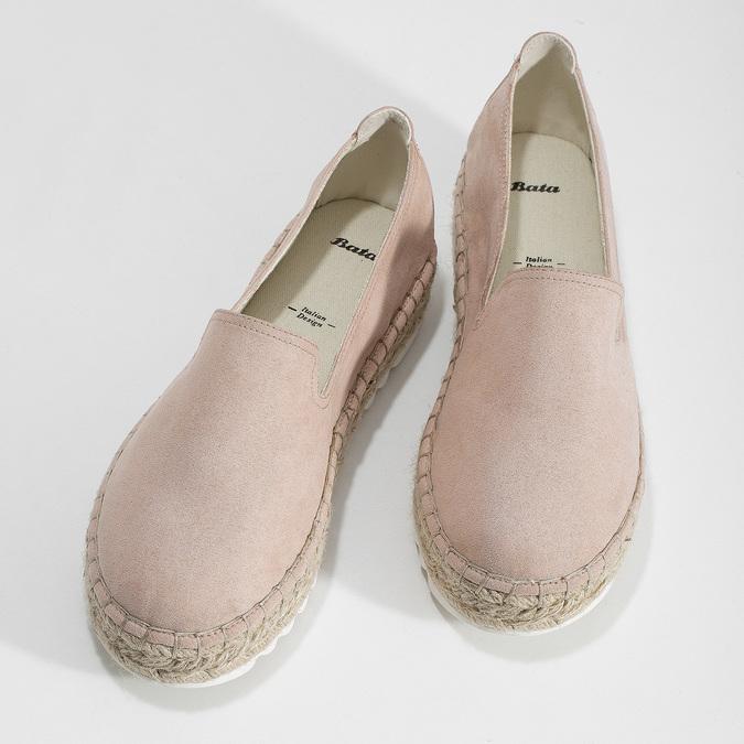 Růžové dámské espadrilky s přírodní flatformou bata, růžová, 559-5605 - 16
