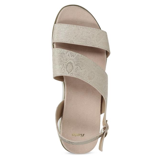 Béžové dámské sandály na platformě bata, zlatá, 561-1631 - 17
