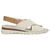 Béžové dámské kožené sandály s perforací comfit, béžová, 566-8610 - 19