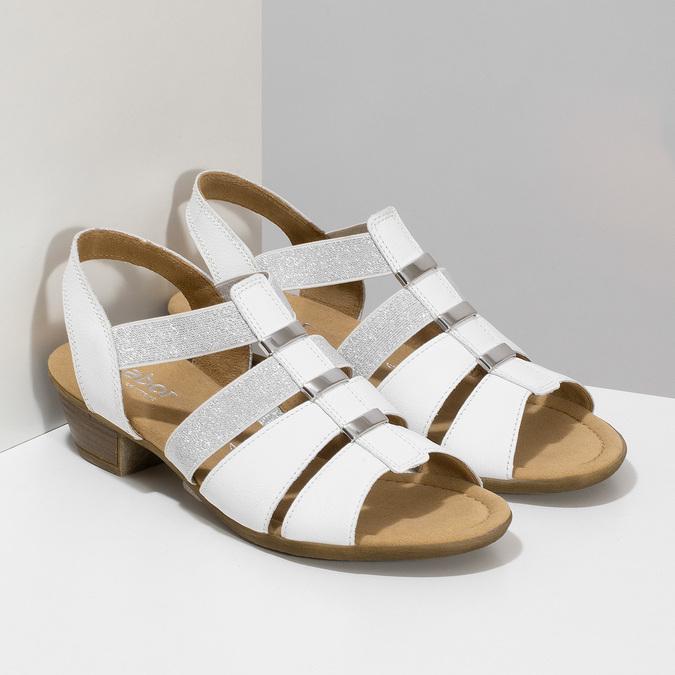 Bílé kožené sandály se stříbrnými detaily gabor, bílá, 664-1605 - 26