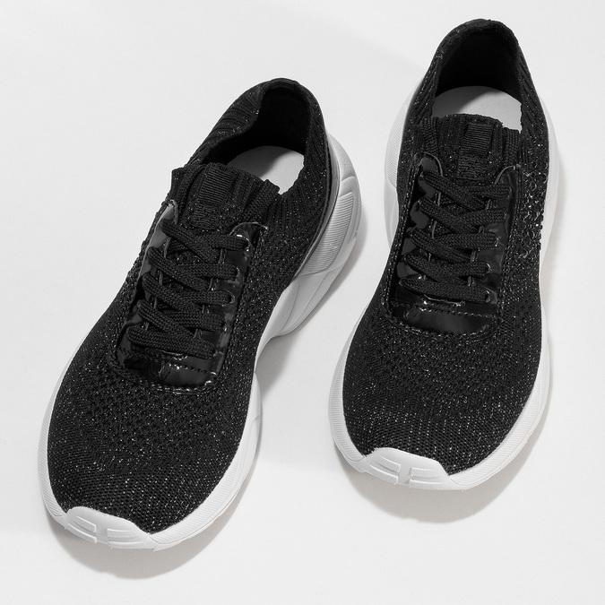 Černé dámské tenisky z úpletu bata-light, černá, 549-6615 - 16