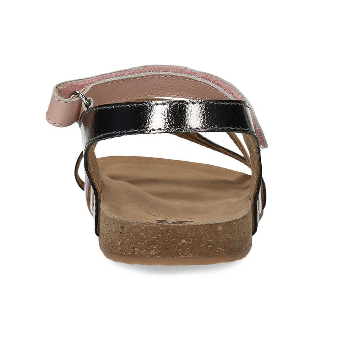 Dětské kožené sandály na suchý zip mini-b, zlatá, 466-8611 - 15