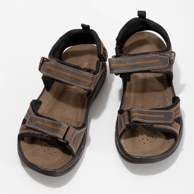 Hnědé pánské sandály z broušené kůže weinbrenner, hnědá, 866-4679 - 16