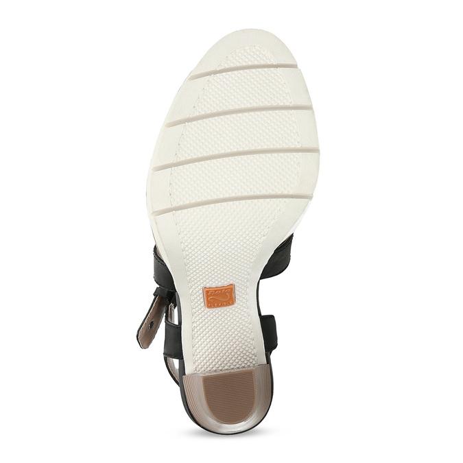 Kožené černé sandály na přírodním podpatku flexible, černá, 763-6631 - 18