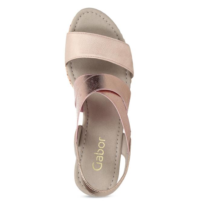 Růžové dámské sandály na přírodní platformě gabor, růžová, 769-5646 - 17