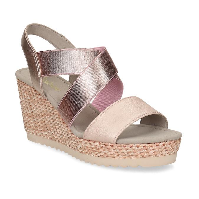 Růžové dámské sandály na přírodní platformě gabor, růžová, 769-5646 - 13
