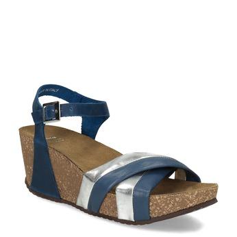 Kožené sandály na platformě modré bata, modrá, 664-9608 - 13
